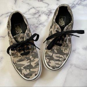 Vans Shark Print Sneakers Grey and Black Kids